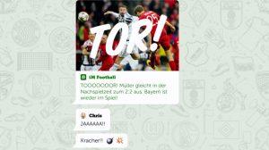 Sport-News via Whatsapp und Facebook? Von der Redaktion direkt in den Chat (Sreenshot).