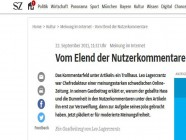 Die Süddeutsche Zeitung lässt Nutzerkommentare nicht mehr direkt unter ihren Artikeln zu. Man wird weitergeleitet.
